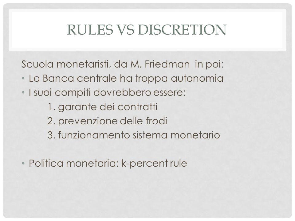 RULES VS DISCRETION Scuola monetaristi, da M.