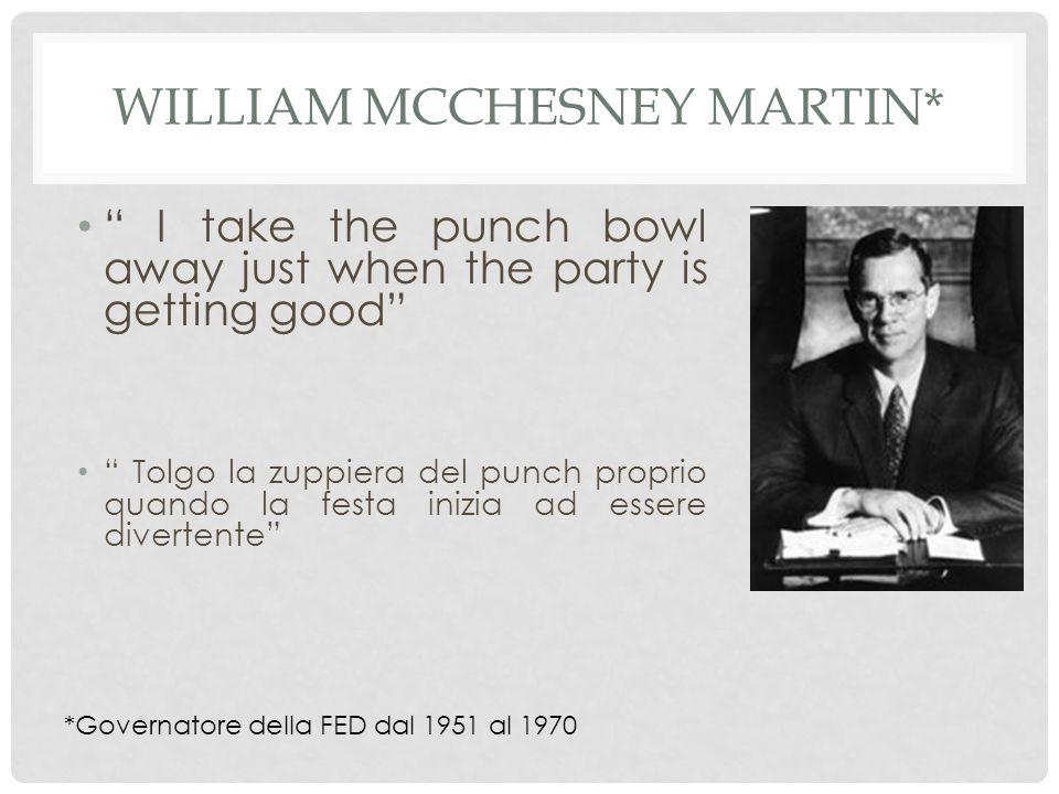 WILLIAM MCCHESNEY MARTIN* I take the punch bowl away just when the party is getting good Tolgo la zuppiera del punch proprio quando la festa inizia ad essere divertente *Governatore della FED dal 1951 al 1970