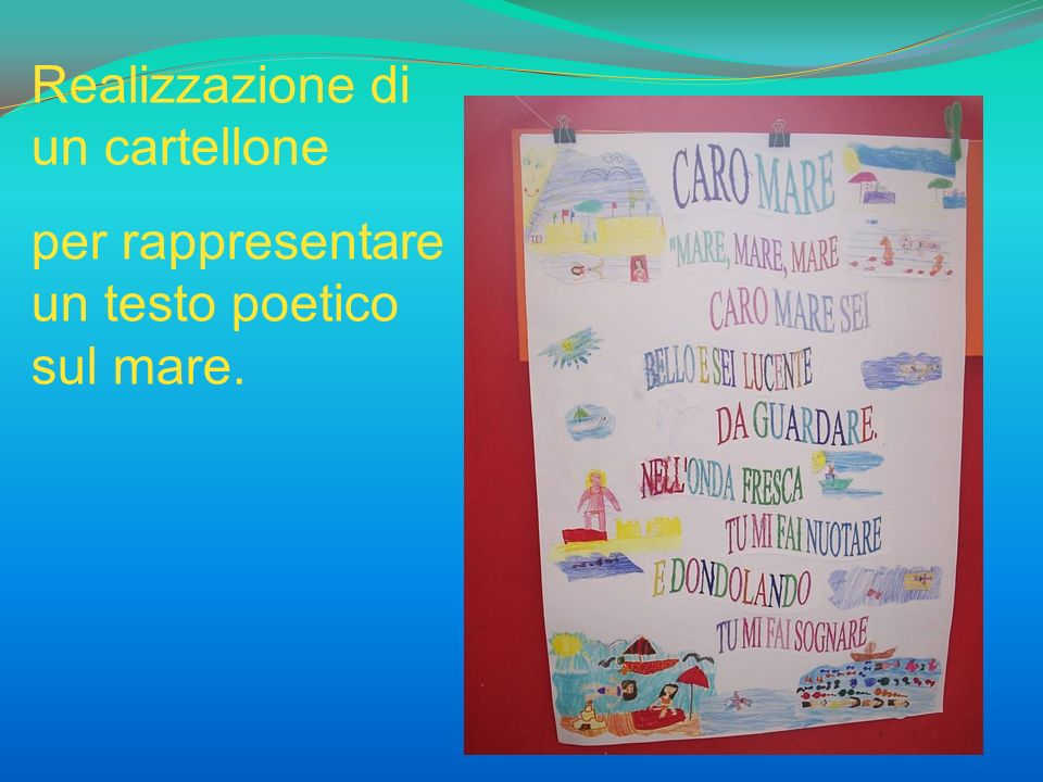 Realizzazione di un cartellone per rappresentare un testo poetico sul mare.