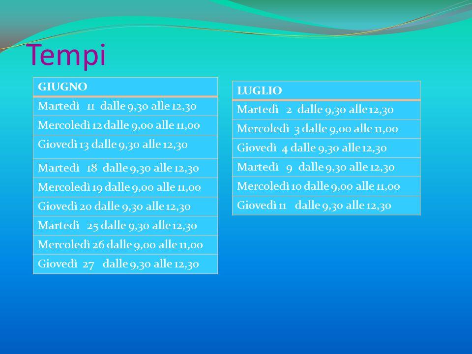 Tempi LUGLIO Martedì 2 dalle 9,30 alle 12,30 Mercoledì 3 dalle 9,00 alle 11,00 Giovedì 4 dalle 9,30 alle 12,30 Martedì 9 dalle 9,30 alle 12,30 Mercole