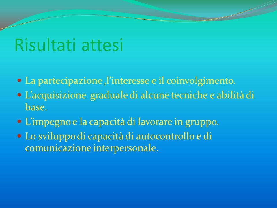 Risultati attesi La partecipazione,linteresse e il coinvolgimento. Lacquisizione graduale di alcune tecniche e abilità di base. Limpegno e la capacità