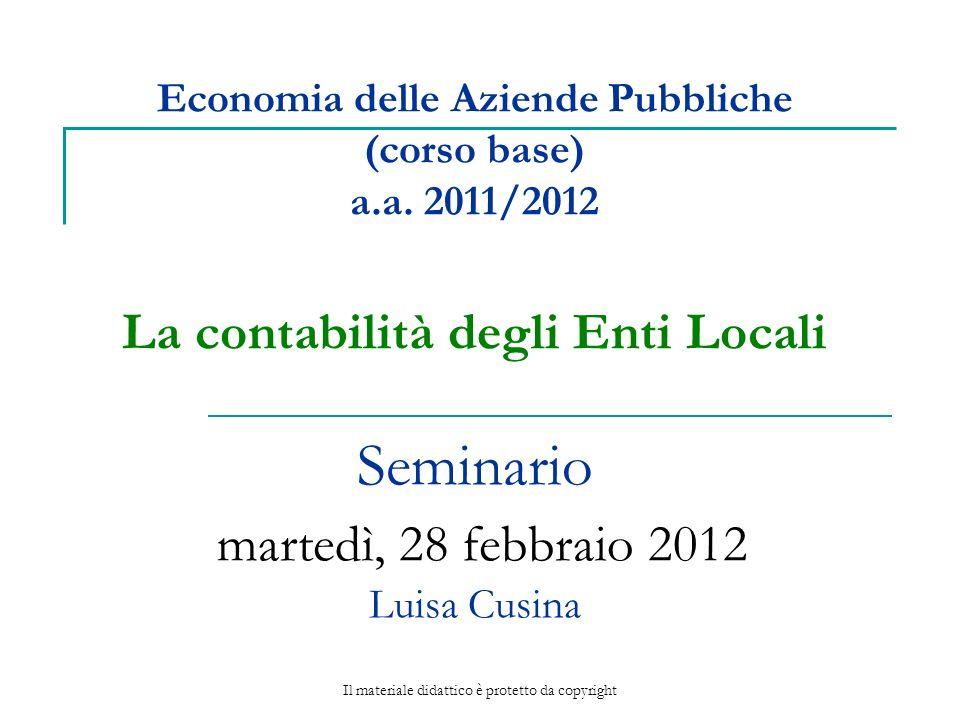 Economia delle Aziende Pubbliche (corso base) a.a.