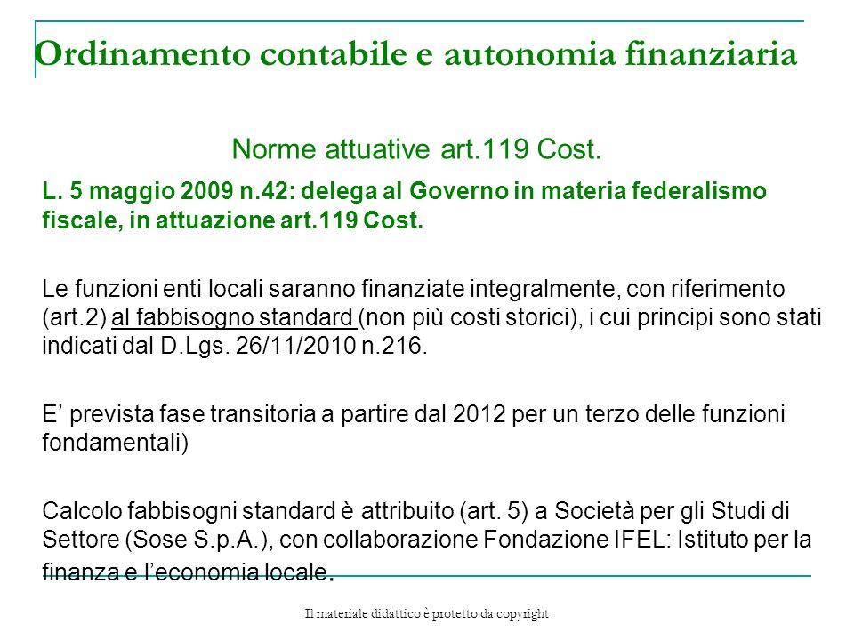 Ordinamento contabile e autonomia finanziaria Norme attuative art.119 Cost.