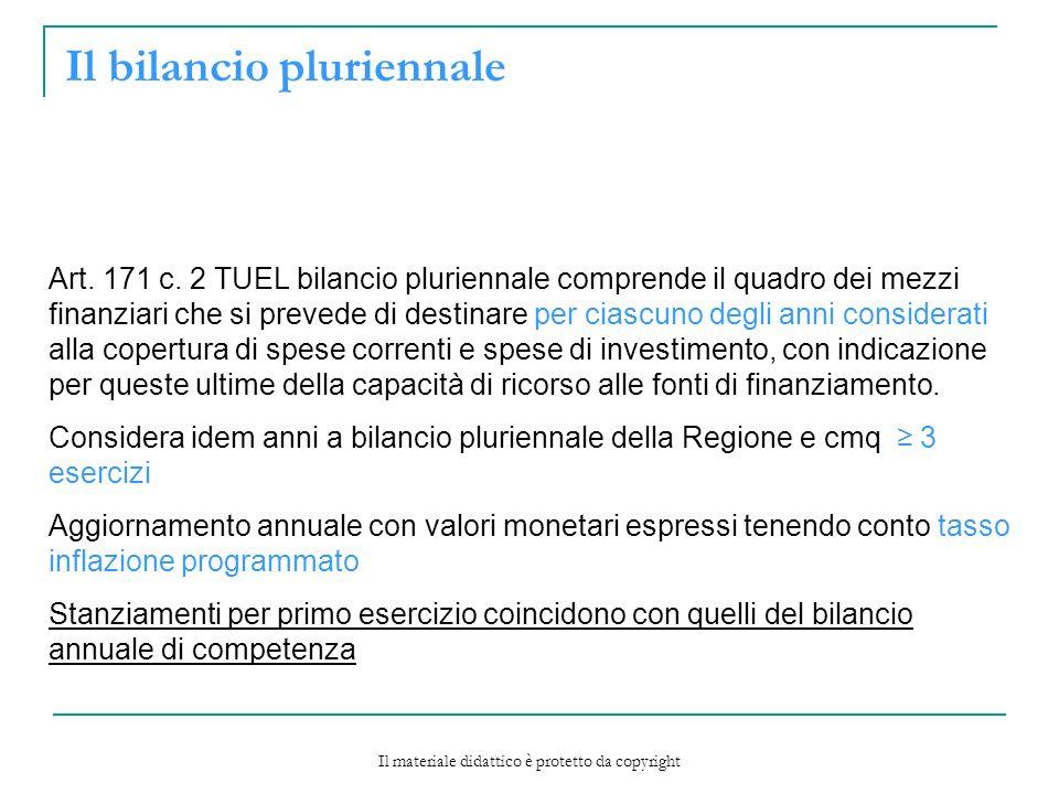 Il bilancio pluriennale Art.171 c.