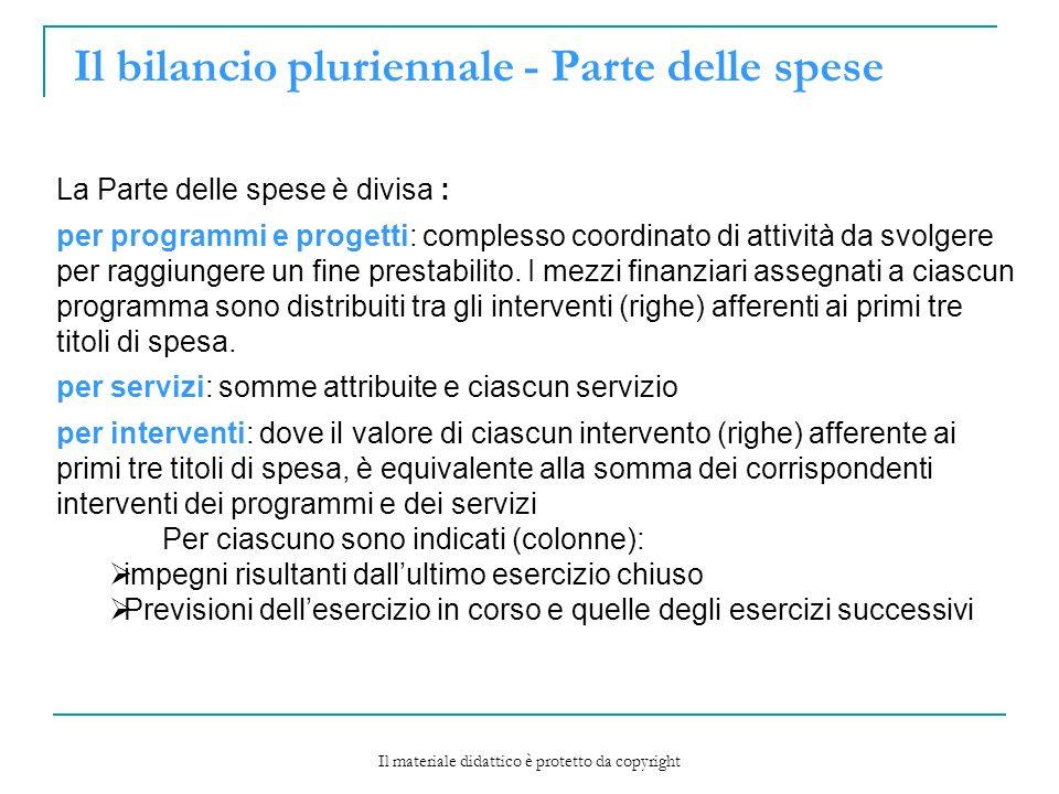 Il bilancio pluriennale - Parte delle spese La Parte delle spese è divisa : per programmi e progetti: complesso coordinato di attività da svolgere per raggiungere un fine prestabilito.