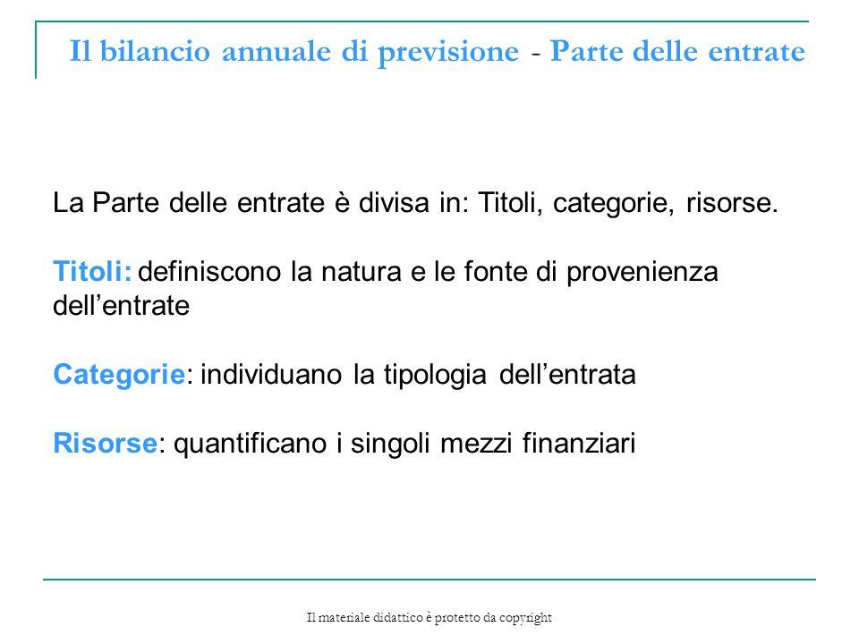 Il bilancio annuale di previsione - Parte delle entrate La Parte delle entrate è divisa in: Titoli, categorie, risorse.