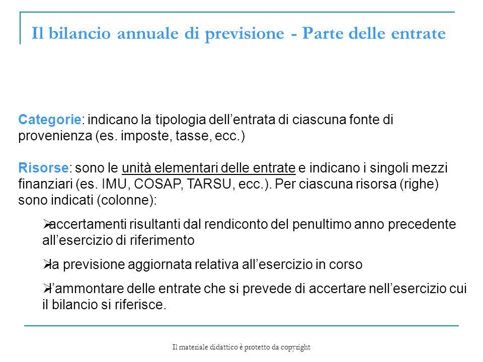 Il bilancio annuale di previsione - Parte delle entrate Categorie: indicano la tipologia dellentrata di ciascuna fonte di provenienza (es.