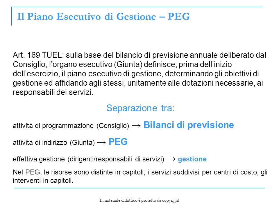 Il Piano Esecutivo di Gestione – PEG Art.