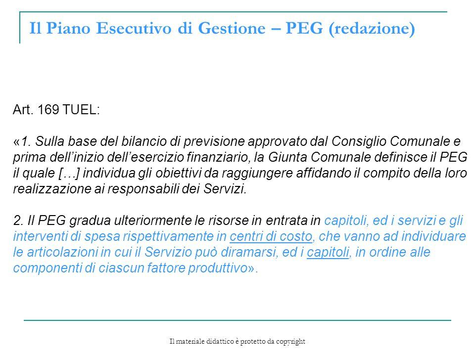 Il Piano Esecutivo di Gestione – PEG (redazione) Art.