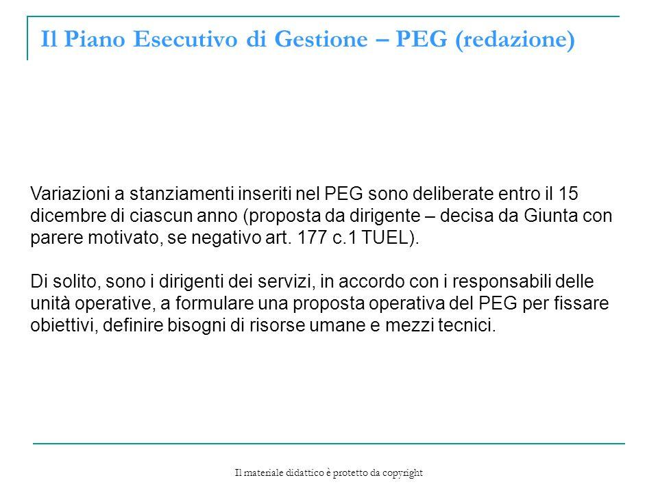 Il Piano Esecutivo di Gestione – PEG (redazione) Variazioni a stanziamenti inseriti nel PEG sono deliberate entro il 15 dicembre di ciascun anno (proposta da dirigente – decisa da Giunta con parere motivato, se negativo art.