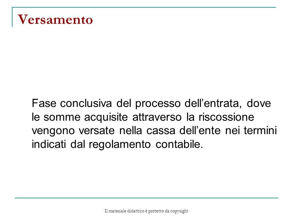 Versamento Fase conclusiva del processo dellentrata, dove le somme acquisite attraverso la riscossione vengono versate nella cassa dellente nei termini indicati dal regolamento contabile.