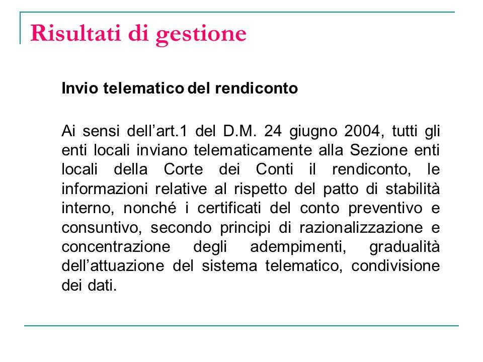 Risultati di gestione Invio telematico del rendiconto Ai sensi dellart.1 del D.M.