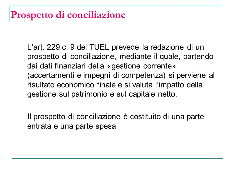 Prospetto di conciliazione Lart.229 c.