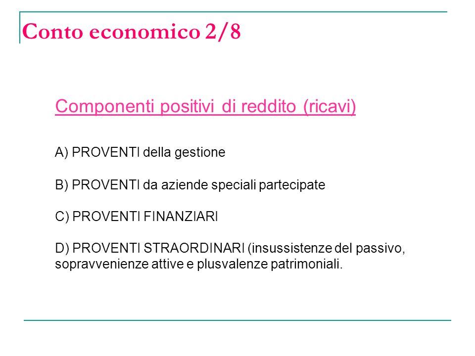 Conto economico 2/8 Componenti positivi di reddito (ricavi) A) PROVENTI della gestione B) PROVENTI da aziende speciali partecipate C) PROVENTI FINANZIARI D) PROVENTI STRAORDINARI (insussistenze del passivo, sopravvenienze attive e plusvalenze patrimoniali.