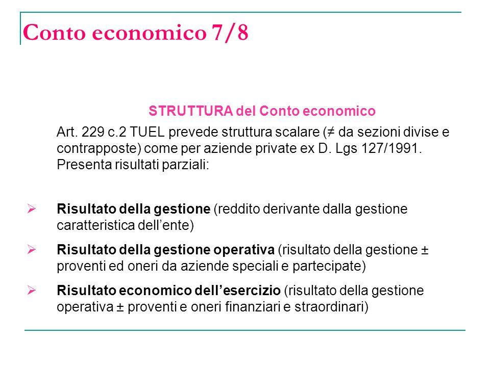 Conto economico 7/8 STRUTTURA del Conto economico Art.