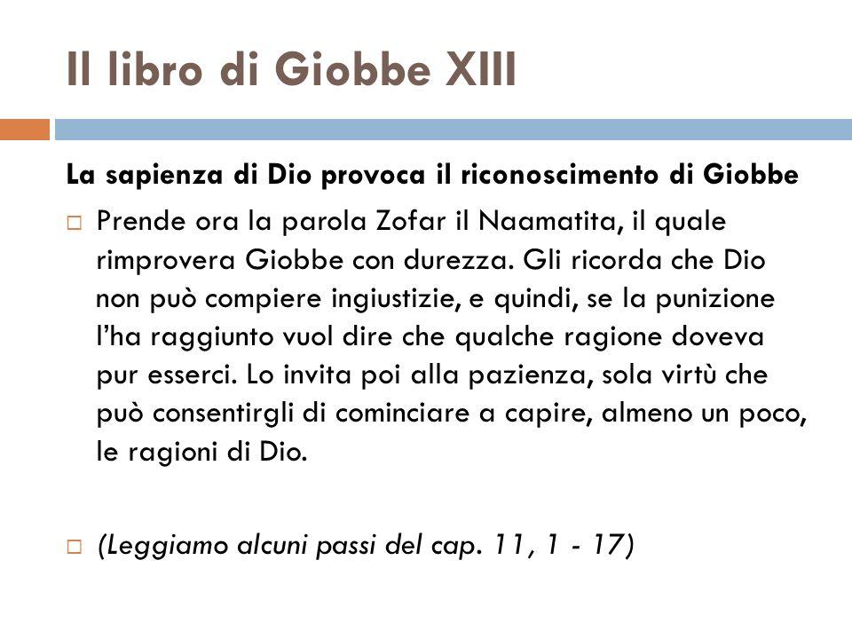 Il libro di Giobbe XIII La sapienza di Dio provoca il riconoscimento di Giobbe Prende ora la parola Zofar il Naamatita, il quale rimprovera Giobbe con