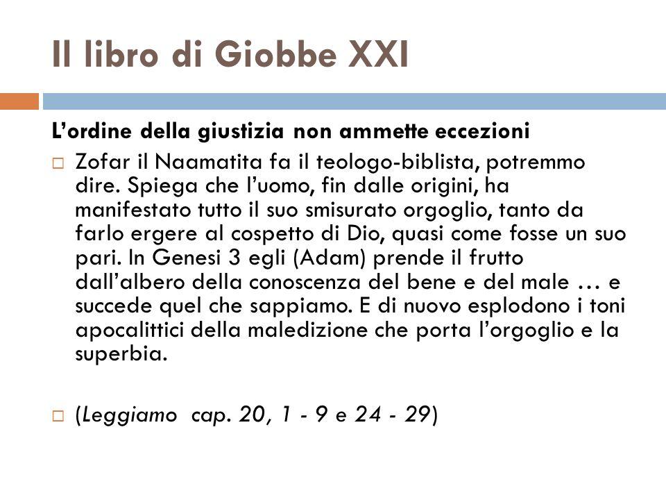Il libro di Giobbe XXI Lordine della giustizia non ammette eccezioni Zofar il Naamatita fa il teologo-biblista, potremmo dire. Spiega che luomo, fin d