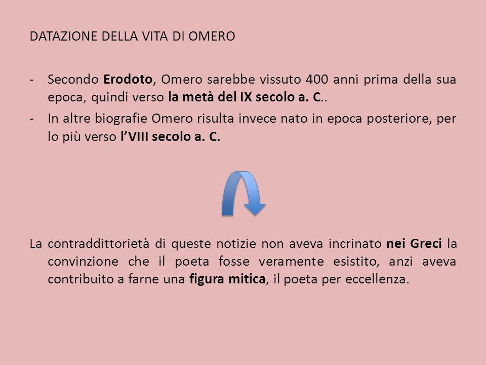 IL DIBATTITO SU OMERO PRESSO GLI ANTICHI V secolo a.