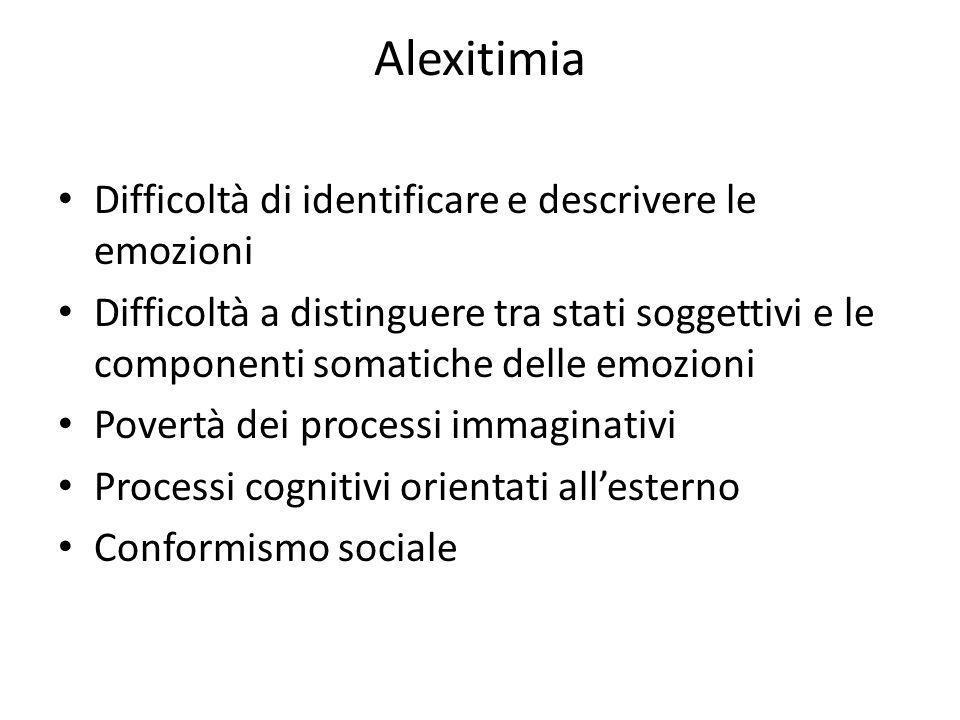 Alexitimia Difficoltà di identificare e descrivere le emozioni Difficoltà a distinguere tra stati soggettivi e le componenti somatiche delle emozioni