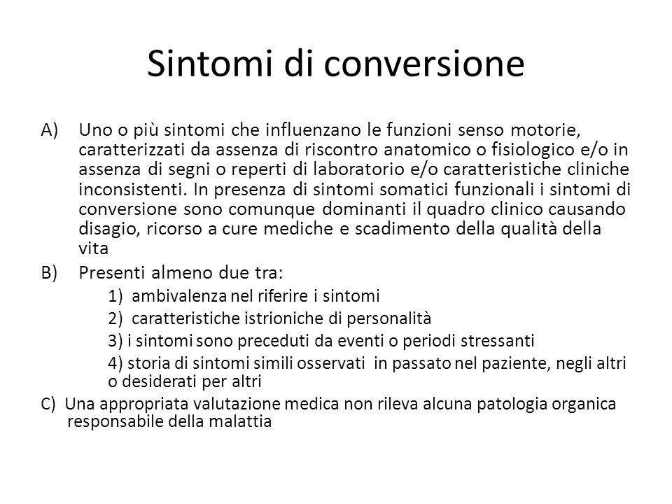 Sintomi di conversione A)Uno o più sintomi che influenzano le funzioni senso motorie, caratterizzati da assenza di riscontro anatomico o fisiologico e