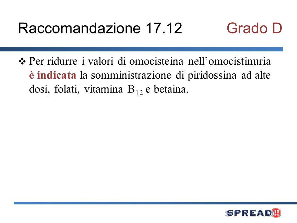 Raccomandazione 17.12Grado D Per ridurre i valori di omocisteina nellomocistinuria è indicata la somministrazione di piridossina ad alte dosi, folati, vitamina B 12 e betaina.