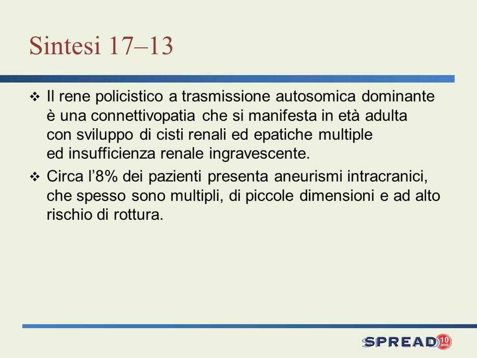 Sintesi 17–13 Il rene policistico a trasmissione autosomica dominante è una connettivopatia che si manifesta in età adulta con sviluppo di cisti renal