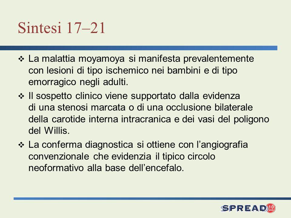 Sintesi 17–21 La malattia moyamoya si manifesta prevalentemente con lesioni di tipo ischemico nei bambini e di tipo emorragico negli adulti.