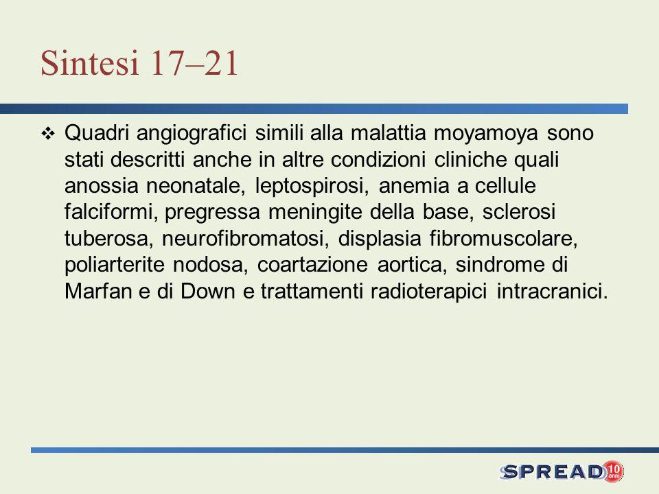 Sintesi 17–21 Quadri angiografici simili alla malattia moyamoya sono stati descritti anche in altre condizioni cliniche quali anossia neonatale, leptospirosi, anemia a cellule falciformi, pregressa meningite della base, sclerosi tuberosa, neurofibromatosi, displasia fibromuscolare, poliarterite nodosa, coartazione aortica, sindrome di Marfan e di Down e trattamenti radioterapici intracranici.