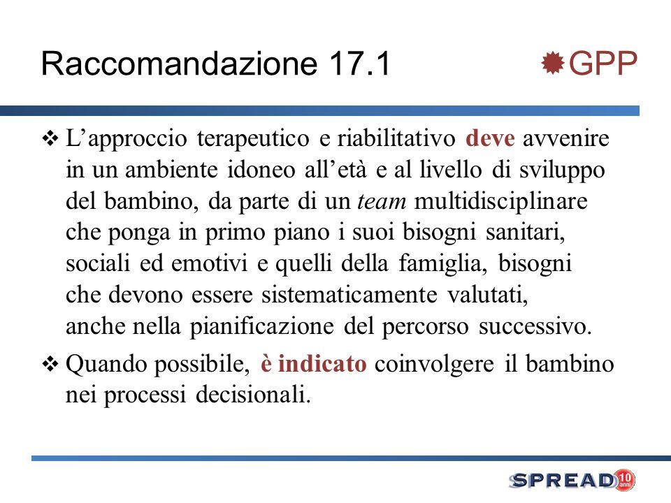 Raccomandazione 17.1 GPP Lapproccio terapeutico e riabilitativo deve avvenire in un ambiente idoneo alletà e al livello di sviluppo del bambino, da pa