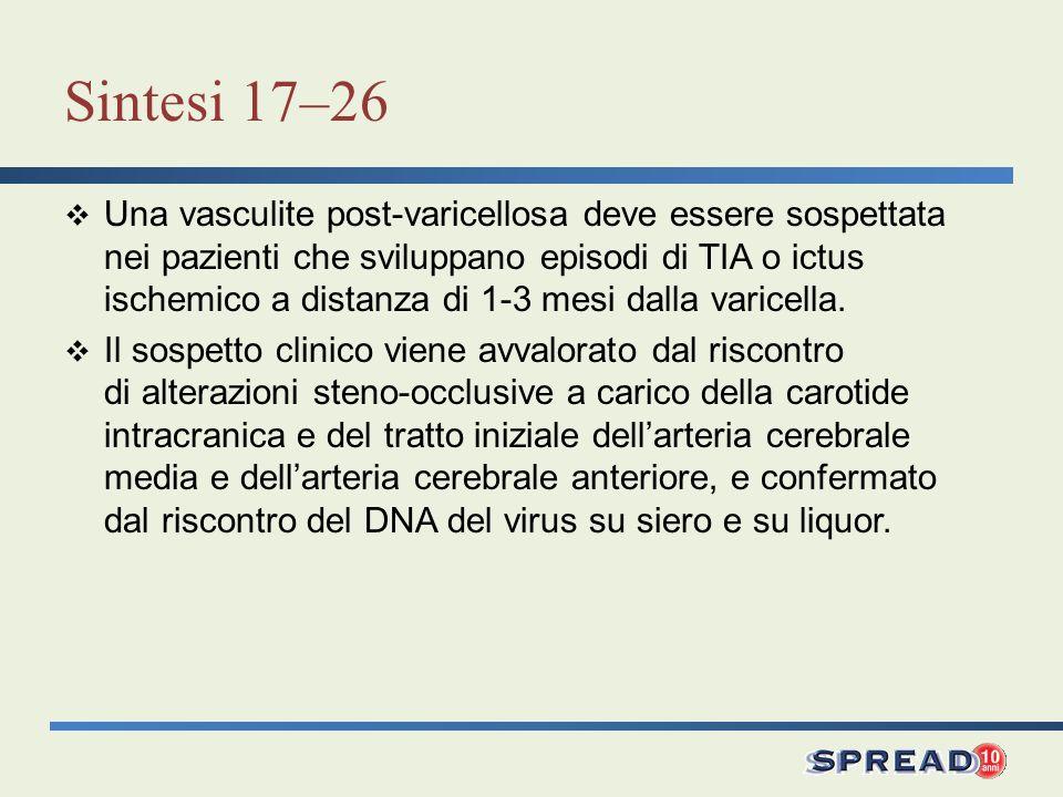 Sintesi 17–26 Una vasculite post-varicellosa deve essere sospettata nei pazienti che sviluppano episodi di TIA o ictus ischemico a distanza di 1-3 mesi dalla varicella.