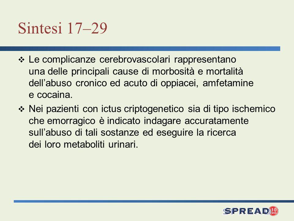 Sintesi 17–29 Le complicanze cerebrovascolari rappresentano una delle principali cause di morbosità e mortalità dellabuso cronico ed acuto di oppiacei, amfetamine e cocaina.
