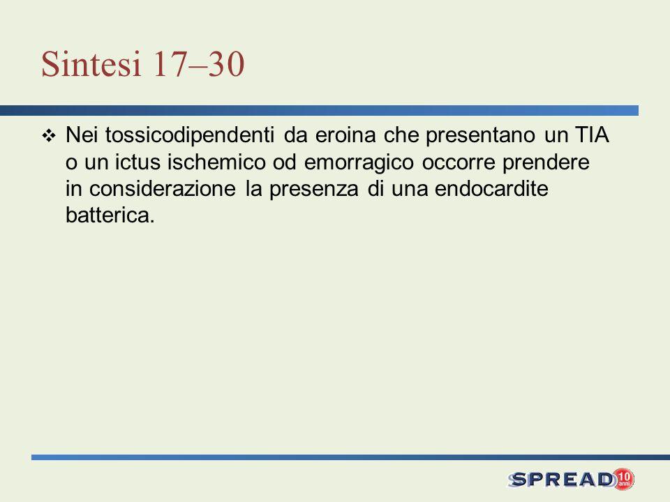 Sintesi 17–30 Nei tossicodipendenti da eroina che presentano un TIA o un ictus ischemico od emorragico occorre prendere in considerazione la presenza di una endocardite batterica.
