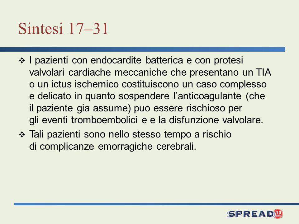 Sintesi 17–31 I pazienti con endocardite batterica e con protesi valvolari cardiache meccaniche che presentano un TIA o un ictus ischemico costituisco