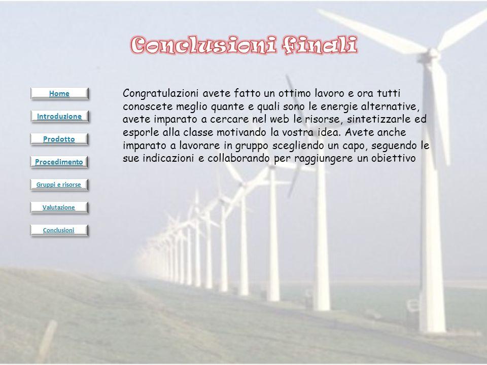 Congratulazioni avete fatto un ottimo lavoro e ora tutti conoscete meglio quante e quali sono le energie alternative, avete imparato a cercare nel web