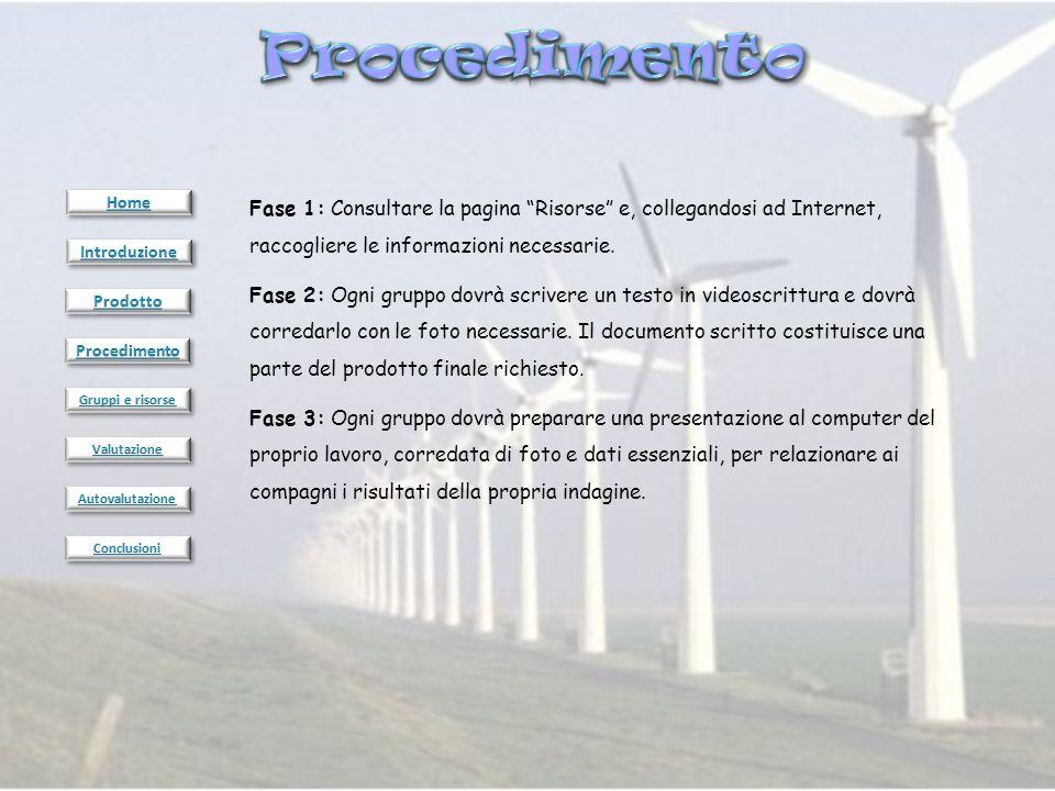 Fase 1: Consultare la pagina Risorse e, collegandosi ad Internet, raccogliere le informazioni necessarie. Fase 2: Ogni gruppo dovrà scrivere un testo