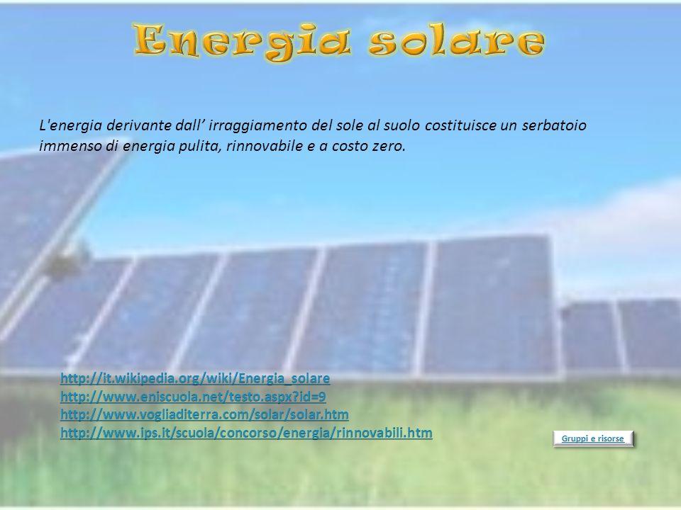 L'energia derivante dall irraggiamento del sole al suolo costituisce un serbatoio immenso di energia pulita, rinnovabile e a costo zero.