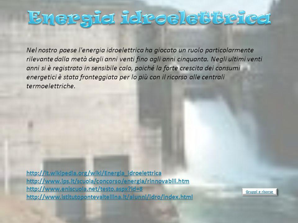 Nel nostro paese l'energia idroelettrica ha giocato un ruolo particolarmente rilevante dalla metà degli anni venti fino agli anni cinquanta. Negli ult