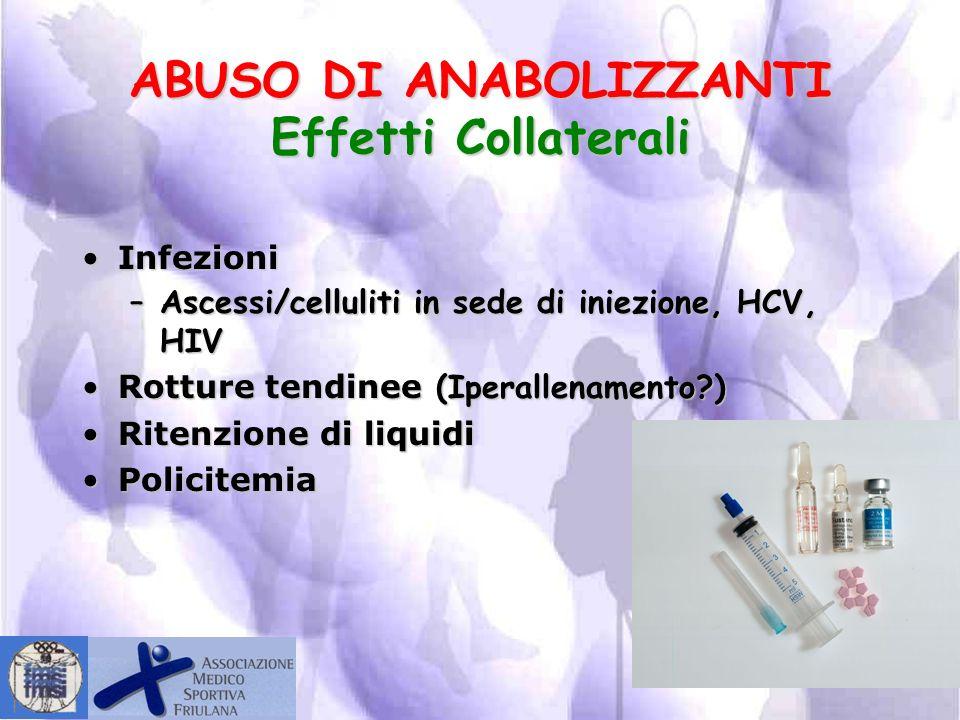ABUSO DI ANABOLIZZANTI Effetti Collaterali Alterazioni epatiche:Alterazioni epatiche: –Colestasi –Peliosi epatica IpotiroidismoIpotiroidismo Alterazio