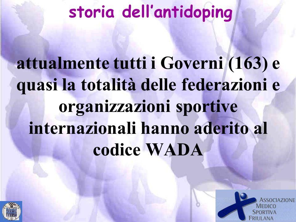 Primo Codice WADA stesura nel febbraio 2003 applicato nel 2004 Ultimo Codice WADA stesura novembre 2007 applicato nel gennaio 2009