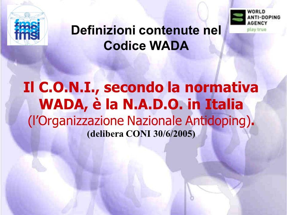 Definizioni contenute nel Codice WADA COMITATO OLIMPICO NAZIONALE Lorganizzazione riconosciuta dal Comitato Internazionale Olimpico (CIO). Con il term