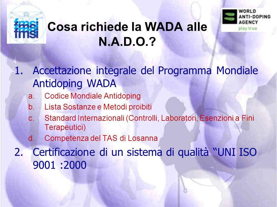 Definizioni contenute nel Codice WADA Il C.O.N.I., secondo la normativa WADA, è la N.A.D.O. in Italia (lOrganizzazione Nazionale Antidoping). (deliber
