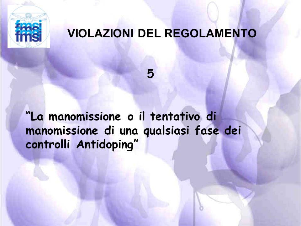 VIOLAZIONI DEL REGOLAMENTO 4 la violazione delle condizioni previste per gli Atleti che devono sottoporsi ai controlli fuori competizione, incluse la