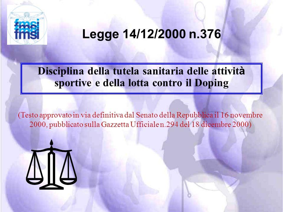 legislazione nella lotta al doping: PENALE