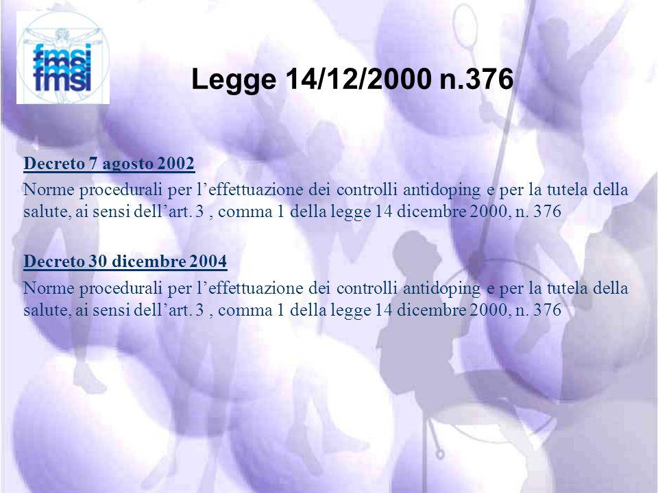 DOPING definizione Legge 16.11.2000 n° 376 (G.U. n° 294 del 18.12.2000) (G.U. n° 294 del 18.12.2000) Costituiscono doping la somministrazione o lassun