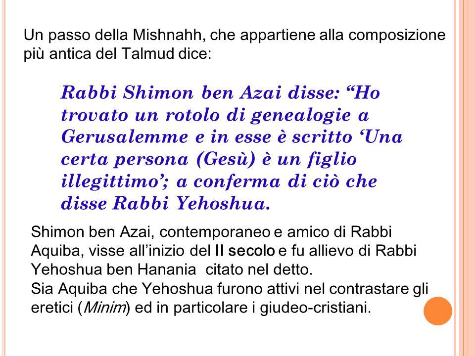 Shimon ben Azai, contemporaneo e amico di Rabbi Aquiba, visse allinizio del II secolo e fu allievo di Rabbi Yehoshua ben Hanania citato nel detto. Sia