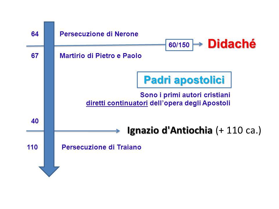 64Persecuzione di Nerone Didaché 67Martirio di Pietro e Paolo 60/150 Padri apostolici Sono i primi autori cristiani diretti continuatori dellopera deg