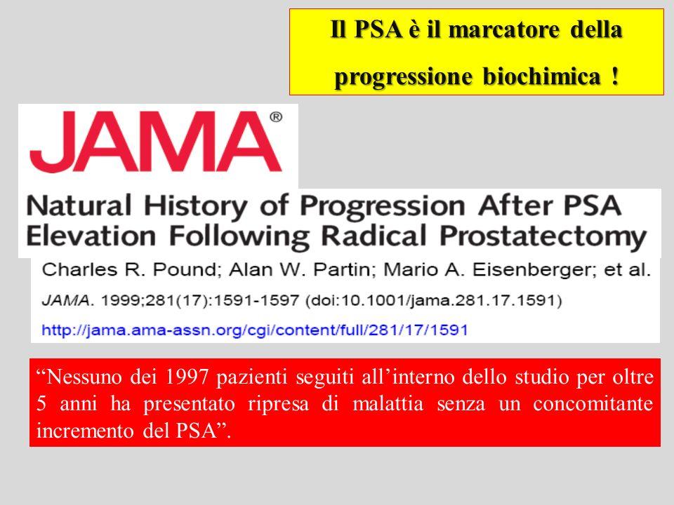 Il PSA è il marcatore della progressione biochimica ! Nessuno dei 1997 pazienti seguiti allinterno dello studio per oltre 5 anni ha presentato ripresa