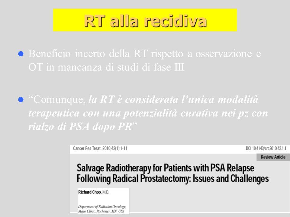 Beneficio incerto della RT rispetto a osservazione e OT in mancanza di studi di fase III Comunque, la RT è considerata lunica modalità terapeutica con