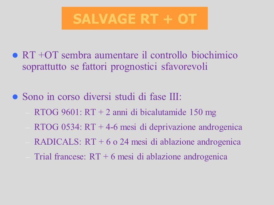 RT +OT sembra aumentare il controllo biochimico soprattutto se fattori prognostici sfavorevoli Sono in corso diversi studi di fase III: – RTOG 9601: R
