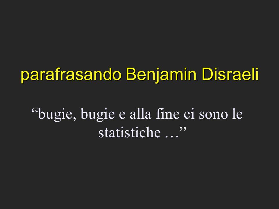 parafrasando Benjamin Disraeli bugie, bugie e alla fine ci sono le statistiche …